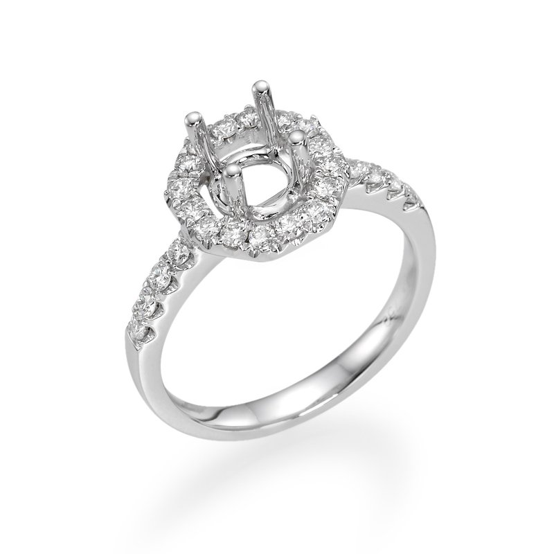 18K White Gold Halo Diamond Mounting