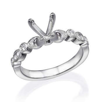 18K White Gold Milgrain Diamond Engagement Ring Mounting