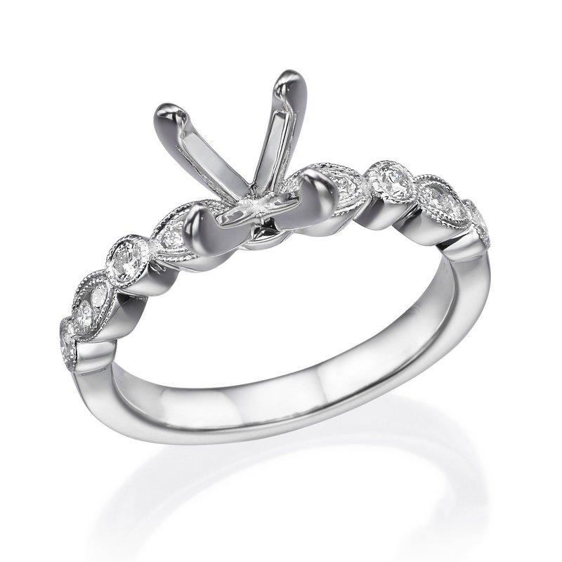18K White Gold Milgrain Diamond Engagement Ring Mounting