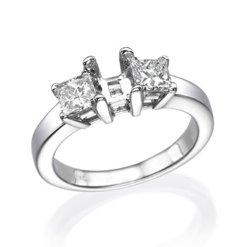 14K White Gold Three-Stone Princess Engagement Mounting