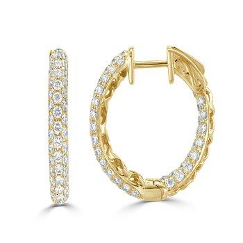 18K Yellow Gold & Diamond Pave Hoop Earrings 1''