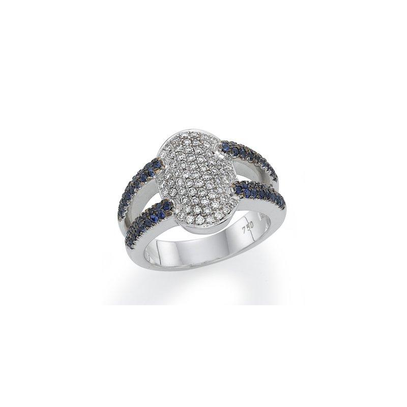 18K White Gold Sapphire And Diamond Fashion Ring