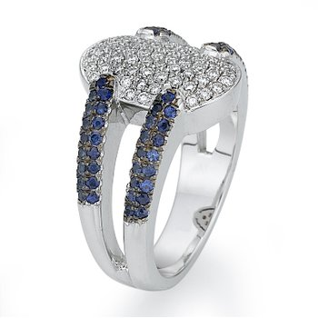 18K White Gold Sapphire And Diamond Fashion Ring