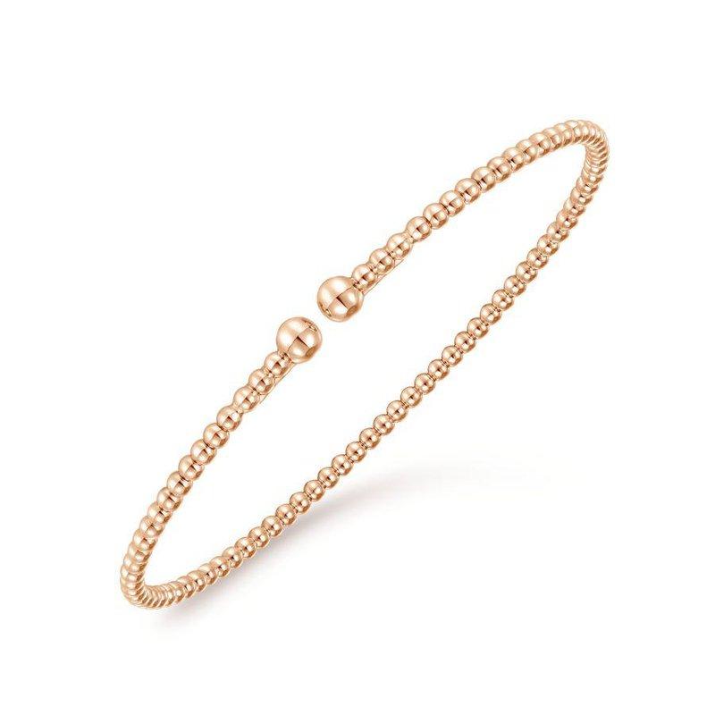 14K Rose Gold Beaded Cuff Bracelet