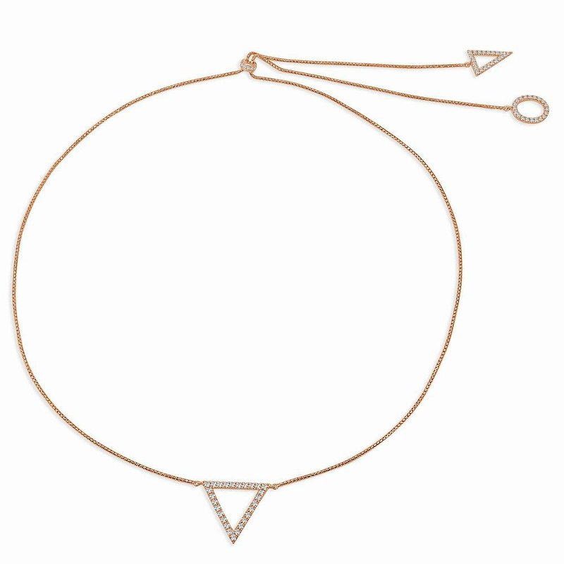 18K Gold Reversible Geometric Adjustable Diamond Necklace