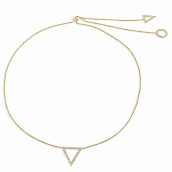 18K Gold Reversible Geometric Adjustable Diamond Necklace