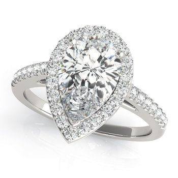 Pear Halo Diamond Engagement Ring Mounting