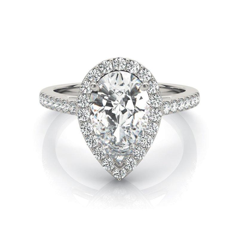 Pear Halo Diamond Engagement Ring Mounting