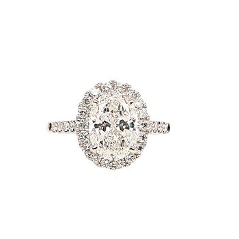 14K Wg 2.70Ctw Oval Halo Diamond Engangement Ring 2.20Ct Center I/Vs1 Gia 2296275748