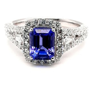 14K Wg 2.30Ct Tanzanite & 0.96Ctw Diamond Halo Ring