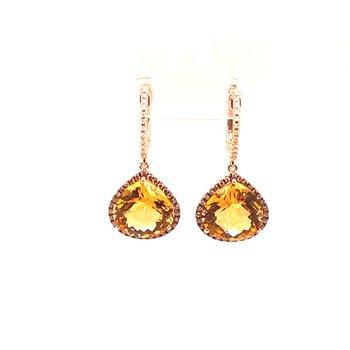 14K Rose Gold Citrine & Diamond Dangle Earrings C-3.75Ctw D-0.41Ctw