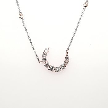 14K Wg 0.69Ctw Diamond Crescent Moon Pendant With Diamond Chain