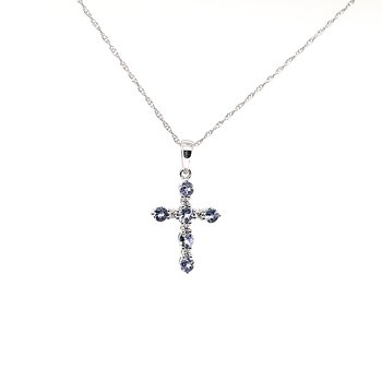 14K Wg 0.72Ctw Tanzanite & 0.05Ctw Diamond Cross Pendant 2.3G