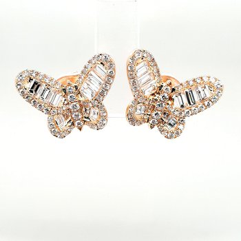 18K Yg 2.50Ctw Diamond Butterfly Earrings 6.7G