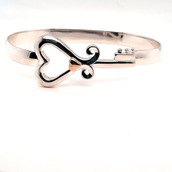 Sterling Silver Custom Tqc Key To Her Heart Bracelet With 14K Yg Heart