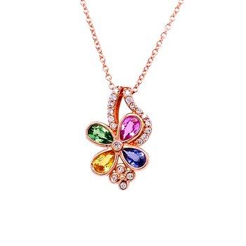 14K Rg 1.14Ctw Sapphire & Tsvaorite Garnet & 0.13Ctw Diamond Flower Effy Pendant