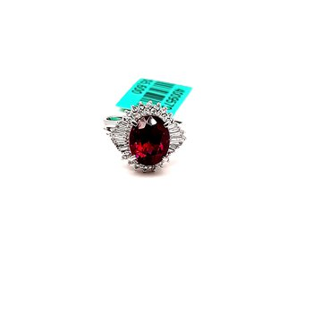 Platinum 3.77Ct Garnet & 0.43Ctw Diamond Milazza Estate Ring 8.4G