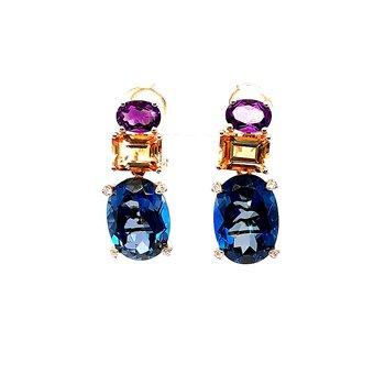 14K Yg Amethyst, Citrine, Blue Topaz & Diamond Dnagle Effy Earrings