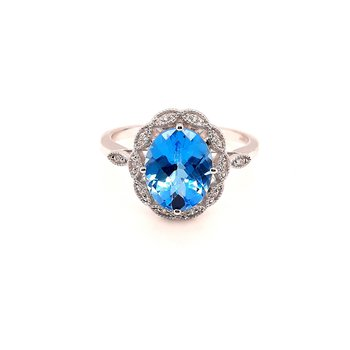 14K Wg 2.06Ct Blue Topaz & 0.05Ctw Diamond Fashion Ring