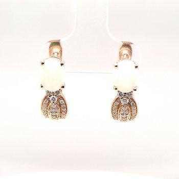 14K Yg 1.33Ctw Opal & 0.30Ctw Diamond Earrings