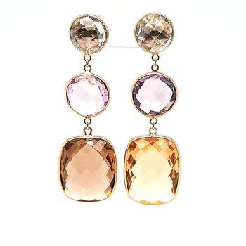 14K Yg Multi Color Dangle Earrings