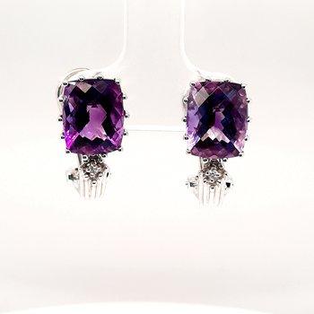 18K Wg 4.8Ctw Amethyst & 0.02Ctw Diamond Earrings