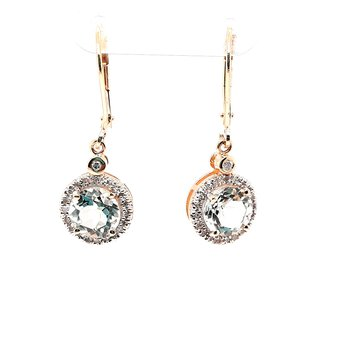 14K Yg Green Amethyst & Diamond Halo Dangle Earrings Am-2.60Ctw D-0.23Ctw 2.5G