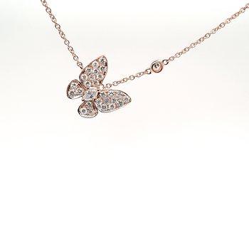 18K Rg 0.62Ctw Diamond Butterfly Pendant