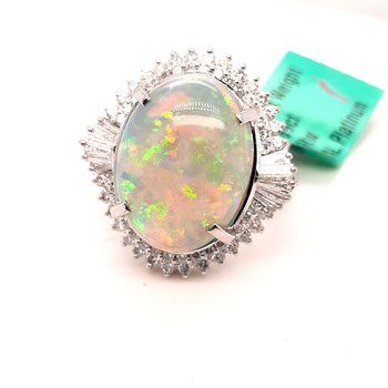 Platinum 7.69Ct Opal & 1.09Ctw Diamond Ring