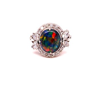 Platinum Estate Opal & Diamond Ring Op-1.50Ct D-0.60Ctw