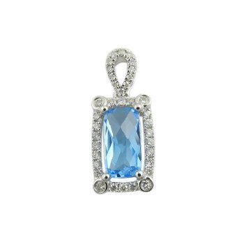 14K Wg 2.34Ct Blue Topaz & 0.25Ctw Diamond Halo Pendant