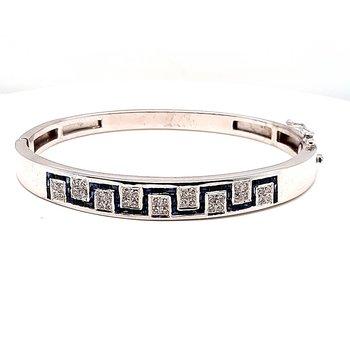 18K Wg 1.00Ctw Sapphire & 0.50Ctw Diamond Bangle Bracelet 30.7G