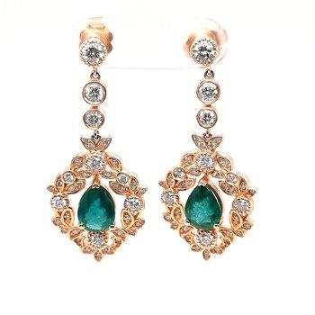 14K Yg 1.90Ctw Emerald & 1.36Ctw Diamond Dangle Earrings