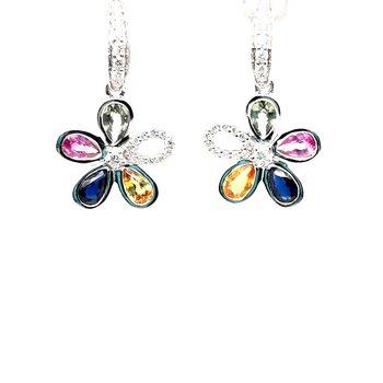 14K Wg 2.40Ctw Multi Color Sapphire & 0.25Ctw Diamond Dangle Flower Earrings 4.8G