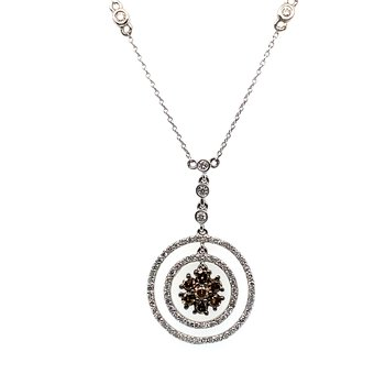 14K Wg 0.84Ctw Brown & White Diamond Circle & Flower Pendant