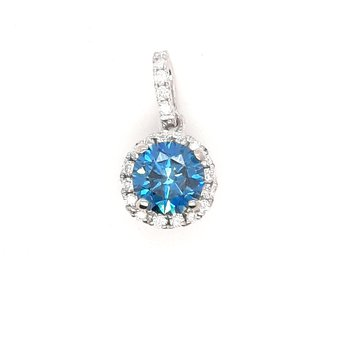 14K Wg 0.62Ct Blue Diamond Halo Pendant 0.75Ctw