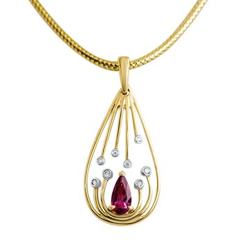 Limited Edition Custom Pink Tourmaline and Diamond Pendant in 14k Yellow Gold