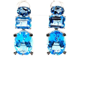14K Wg 18.45Ctw Blue Topaz Dangle Earrings