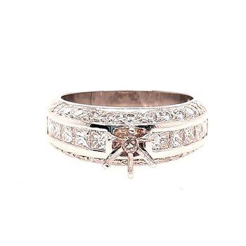 Platinum 1.50Ctw Diamond Semi Mount Ring 12.7G
