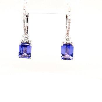 14K Wg 2.00Ctw Tanzanite & 0.27Ctw Diamond Dangle Earrings