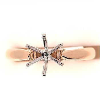14K Yg Cathedral Style Solitaire Semi Mount Ring
