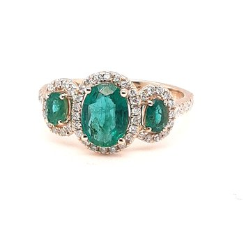 14K Yg 1.27Ctw Emerald & 0.35Ctw Diamond 3-Stone Halo Ring