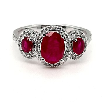 14K Wg 1.60Ctw Ruby & 0.35Ctw Diamond 3-Stone Halo Ring