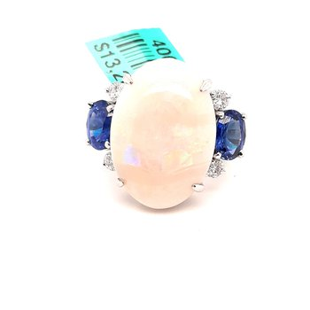 Platinum 8.63Ct Opal, 2.05Ctw Sapphire & 0.28Ctw Diamond Palmero Estate Ring