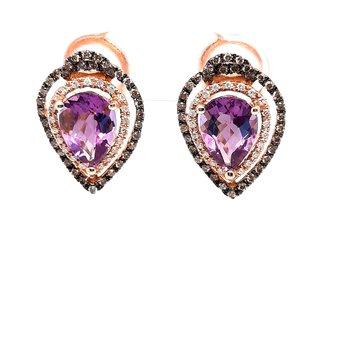 14K Rg 3.42Ctw Amethyst & 0.49Ctw Diamond Earrings