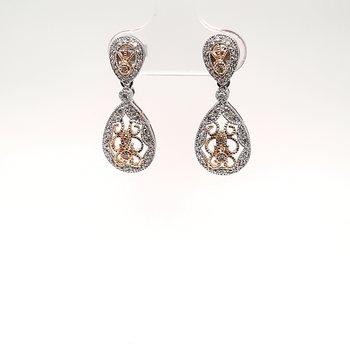 14K W/Yg 0.31Ctw Diamond Dangle Earrings 4.2G