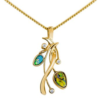 Opal and Diamond Limited Edition Custom Pendant in 14k Yellow Gold