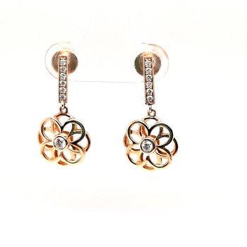 14K Yg 0.19Ctw Diamond Dangle Earrings 2.35G