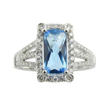 14K Wg 2.51Ct Blue Topaz & 0.46Ctw Diamond Halo Split Shank Ring