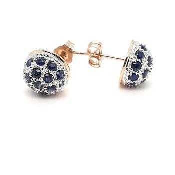 14K Yg 2.00Ctw Sapphire Dome Stud Earrings 2.3G